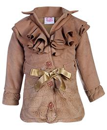 Little Kangaroos Full Sleeve Jacket - Ruffled Pattern