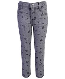 Fox Full Length Jeans Floral Print - Grey