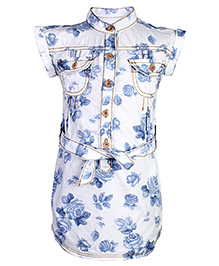 Fox Baby Short Sleeves Frock - Flower Prints