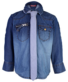 Gini & Jony Full Sleeves Denim Shirt With Tie - Blue