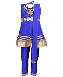Babyhug Sleeveless Kurta Churidar And Dupatta Blue - Stone Work