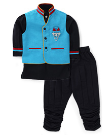 Active Kids Wear Three Piece Ethnic Clothing Set - Sky Blue And Black
