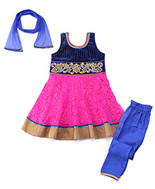 Babyhug Sleeveless Kurta And Chudidaar With Dupatta - Diamond Work