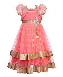 Babyhug Singlet Tiered Dress With Shrug - Dotted Self Pattern