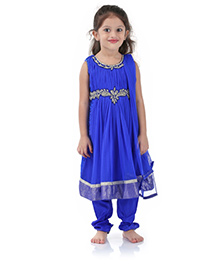 Babyhug Sleeveless Kurta And Churidar With Dupatta Blue - Stone Work