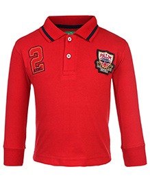 Palm Tree Polo Neck T-Shirt Red - ATHL Patch