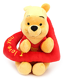 Disney Soft Toy Pooh With Heart - Red - 10 Inches