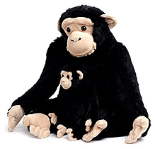 Animal Planet Soft Toy Mommy With Baby Chimp - Black