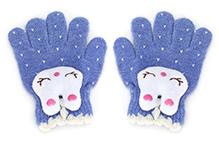 Babyhug Hand Gloves Rabbit Face Motif - Blue