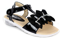 Sweet Year Sandal With Floral Applique And Stone Work - Velcro Closure