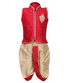 Babyhug Sleeveless Kurta And Dhoti Red - Studded Embroidery