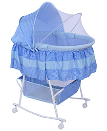 Fab N Funky Baby Cradle With Mosquito Net And Pillow - Blue