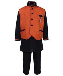 Active Kids Wear Three Piece Ethnic Clothing Set - Black And Orange