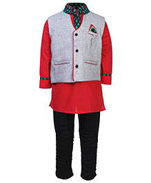 Active Kids Wear Three Piece Ethnic Clothing Set - Grey And Red