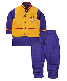 Active Kids Wear Three Piece Ethnic Clothing Set - Yellow And Purple