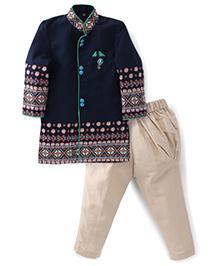 Active Kids Wear Kurta And Pajama Set - Navy Blue
