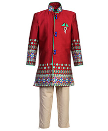 Active Kids Wear Kurta And Pajama Set - Red