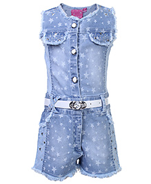 Kittens Party Jumpsuit With Belt - Star Print