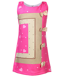 Kittens Sleeveless Party Frock Bow Appliques - Pink