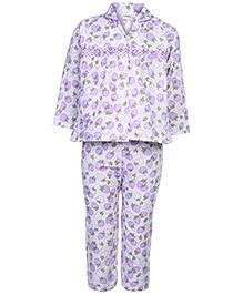 Babyhug Full Sleeves Night Suit - Purple