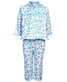 Babyhug Full Sleeves Night Suit Strawberry Print - Blue