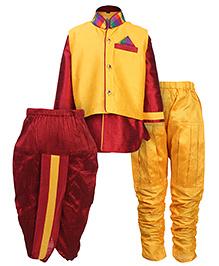 Babyhug 3 Piece Ethnic Set - Yellow And Red