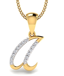SIOVER 92.5 Sterling Silver Gold Plated Pendant - A Shape