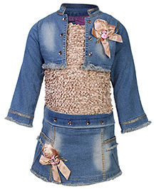 Kittens Party Dress With Denim Jacket - Floral Applique