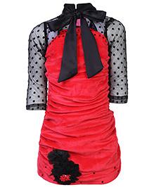 Kittens Party Dress Velvet Texture - Floral Applique