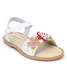 Kittens Sandals With Floral Applique - White