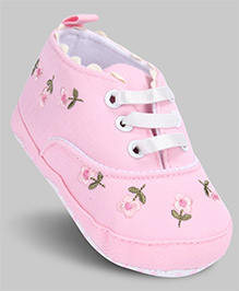 Cute Walk Baby Booties Floral Print - Pink