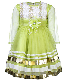 Kittens Party Frock Net Detailing - Floral Applique - 6 To 12 Months