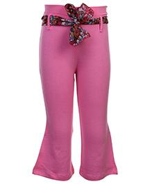 Babyhug Legging With Sash Tie Belt - Pink