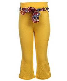 Babyhug Legging With Sash Tie Belt - Yellow