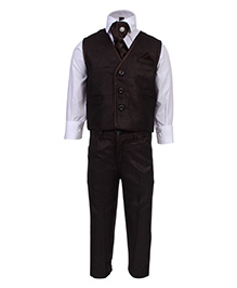 Active Kids Wear Four Piece Party Wear Set - Brown And White