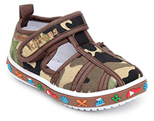 Kittens Printed Sandal With Velcro Closure - Brown