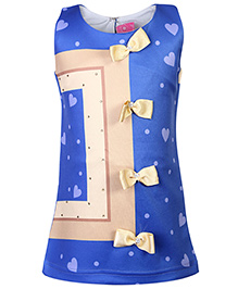 Kittens Sleeveless Party Frock Bow Appliques - Blue