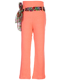 Babyhug Legging With Sash Tie Belt - Coral