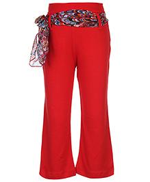 Babyhug Legging With Sash Tie Belt - Red