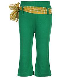 Babyhug Legging With Sash Tie Belt - Green