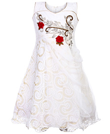 Babyhug Sleeveless Tiered Dress - Rose Patch And Diamond Work
