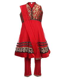 Babyhug Sleeveless Kurta And Churidar With Dupatta Red - Floral Embroidery