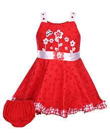 Babyhug Singlet Frock With Bloomer - Red