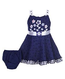Babyhug Singlet Frock With Bloomer - Navy Blue