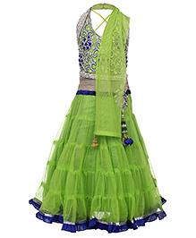 Babyhug Halter Neck Choli And Lehenga With Dupatta Green - Diamond Work