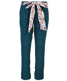 Palm Tree Trousers With Tie Up Belt - Green