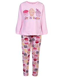 Babyhug Full Sleeves Night Suit Pink - Life Is Sweet Print