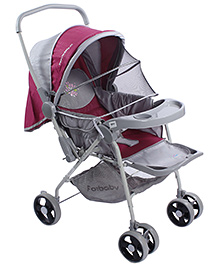 Fab N Funky Baby Pram - Grey And Pink