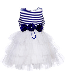 Babyhug Sleeveless Party Frock - Flower Appliques