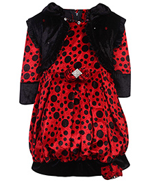 Kittens Party Frock With Shrug - Dots Print